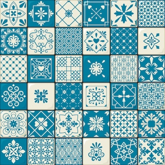 Azulejo de cerâmica. padrões de azulejos de estilo marroquino oriental vintage