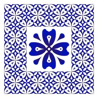 Azulejo decorativo azul e branco