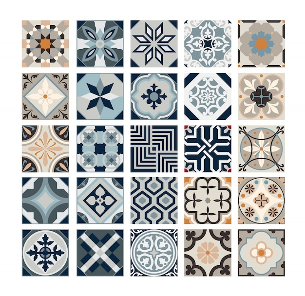 Azulejos antigos padrões portugueses antigo design sem costura em ilustração vetorial