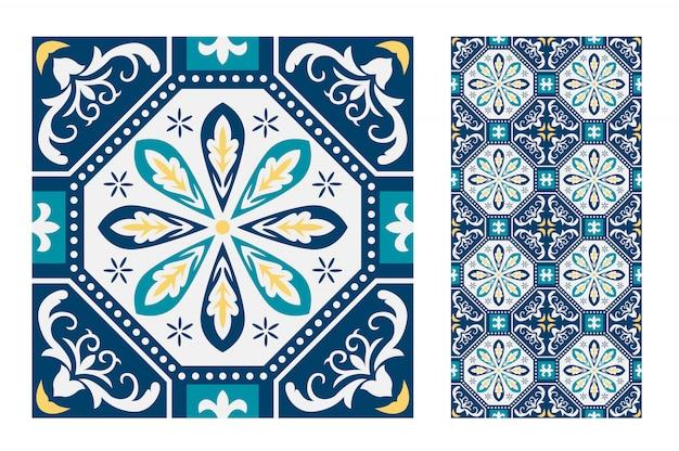 Azulejos antigos sem costura padrão português