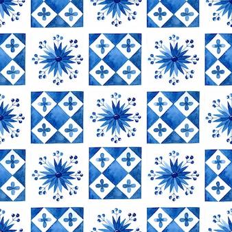 Azulejos mediterrâneos sem costura de fundo aquarela