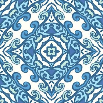 Azulejos orientais de damasco sem costura com motivos florais