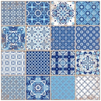 Azulejos portugueses ornamentados tradicionais. padrão vintage para design têxtil. mosaico geométrico, faiança. padrão geométrico sem emenda. fundo decorativo. teste padrão floral vintage.