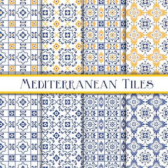 Azulejos tradicionais mediterrâneos pintados bonitos
