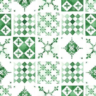 Azulejos verdes tradicionais aquarela sem costura padrão
