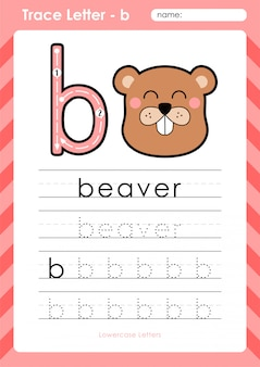 B castor: planilha de letras de rastreamento az do alfabeto - exercícios para crianças
