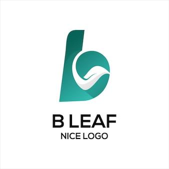 B com logotipo da folha na cor azul