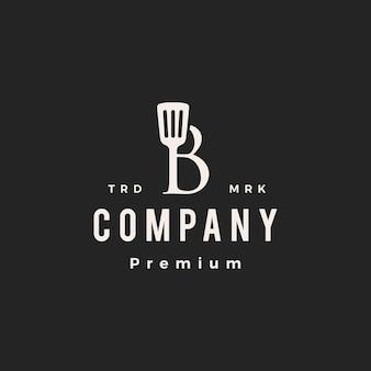 B letra marca espátula cozinha chef cozinheiro hipster logotipo vintage ilustração vetorial ícone