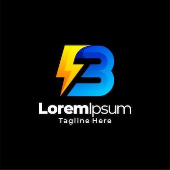 B letra thunderbolt energia gradiente modelo de design de logotipo