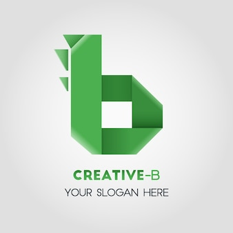 B letter business template do logotipo com estilo origami