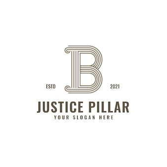 B letter logo justice and law firm pillar bold professional line art