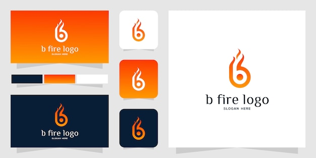 B modelo de logotipo de fogo