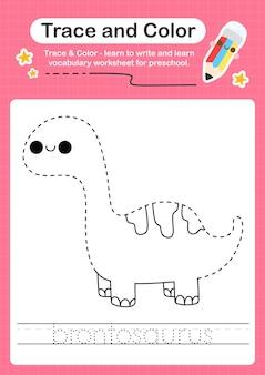 B rastreando a palavra para dinossauros e colorindo a planilha de rastreamento com a palavra brontosaurus