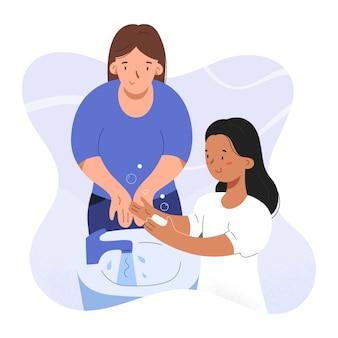 Babá ou mãe lavando as mãos com menina criança, ilustração