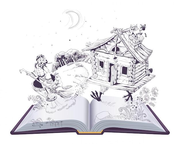 Baba yaga velha bruxa em argamassa e cabana nas pernas de frango. livro aberto de conto de fadas russo Vetor Premium