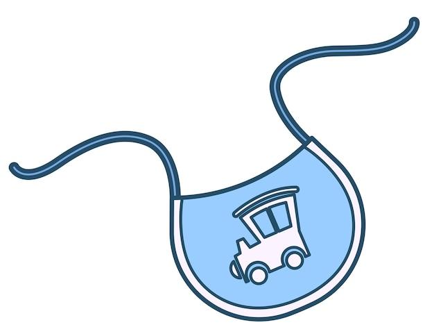 Babete infantil com estampa de trator ou locomotiva, roupas isoladas para meninos. tecido usado para proteger as roupas de manchas durante a alimentação de bebês pequenos. berçário e roupas para recém-nascidos, vetor em estilo simples
