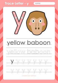Babuíno amarelo y: planilha de letras de rastreamento do alfabeto az - exercícios para crianças