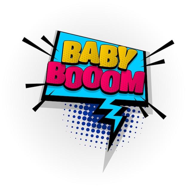 Baby boom kids zone sound efeitos de texto de quadrinhos modelos quadrinhos balão de fala meio-tom pop art