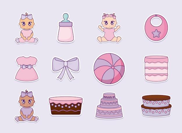 Baby shower design vector ilustration ícone meninas do bebê