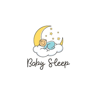 Baby sleep cloud moon stars comfort logo