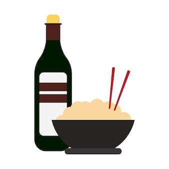 Bacia de arroz e garrafa de bebida