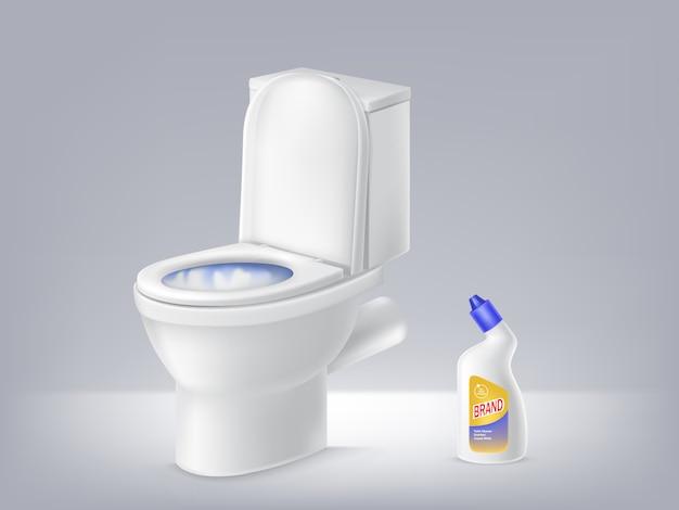 Bacia de toalete, anúncio desinfetante líquido no fundo cinzento