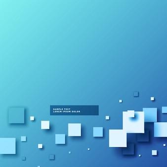 Backgorund azul abstrato com formas de mosaico 3d