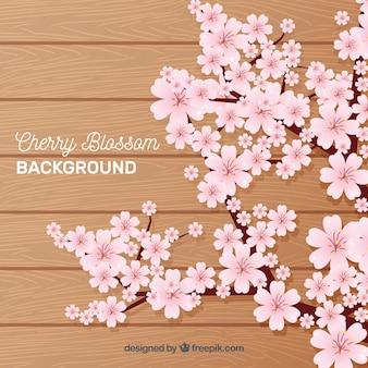 Backgorund de flores de cerejeira em estilo plano