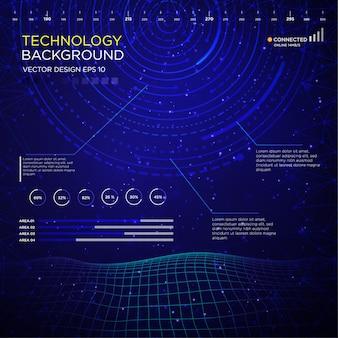 Backgound de tecnologia com interface de círculo abstrato
