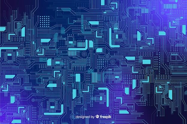 Backgrond azul realístico da placa de circuito