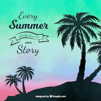 Backgroud de verão com a silhueta do pôr do sol e palmeiras