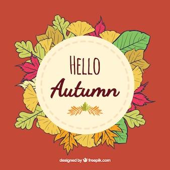 Backgroud outono moderno com folhas coloridas
