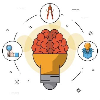 Background colorido com lâmpada na forma do cérebro
