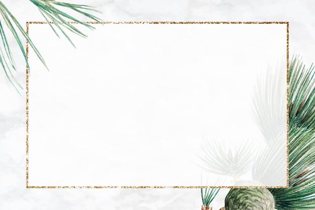 Background de moldura de pinheiro de inverno