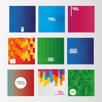 Backgrounds estilo diferente design template formas abstratas ilustração vetorial