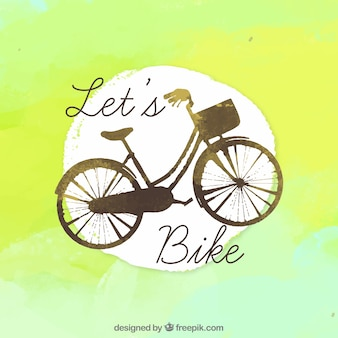 Backgroung de aquarela com bicicleta vintage