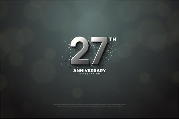 Backround do 27º aniversário com ilustração numérica prata.