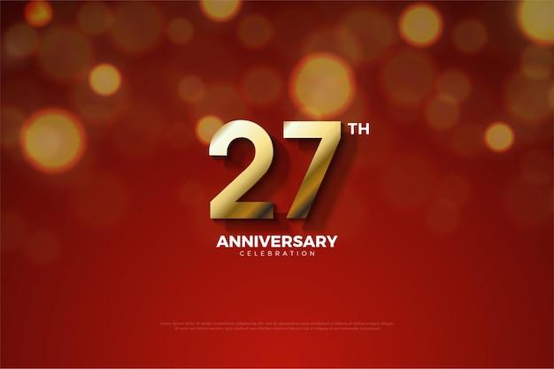 Backround do 27º aniversário com números dourados cortados por sombras.