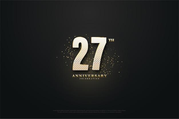 Backround do 27º aniversário com números e areia dourada.