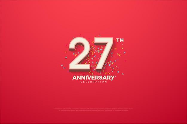 Backround do 27º aniversário com números e um pequeno papel colorido.