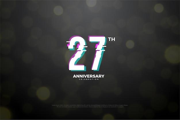 Backround do 27º aniversário com números fatiando em paz.