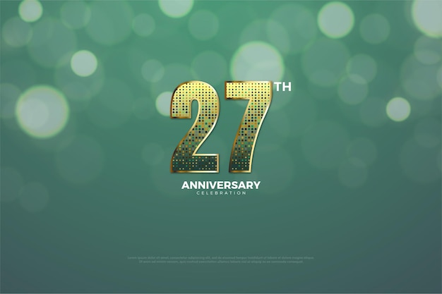 Backround do 27º aniversário com números feitos de glitter dourados.