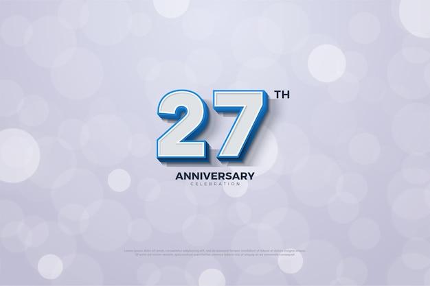 Backround do 27º aniversário com números listrados em azul nas bordas.