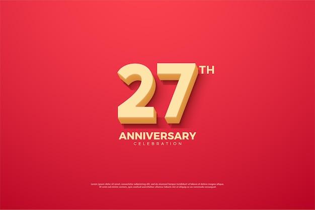 Backround do 27º aniversário com números usando a fonte de desenho animado.
