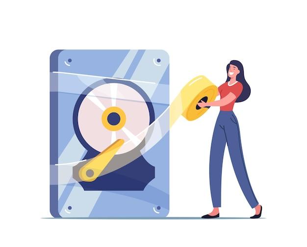 Backup, serviço de recuperação e proteção de dados, ilustração de reparo de hardware