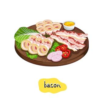 Bacon de churrasco sortido na tábua