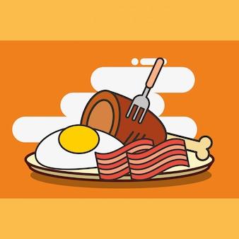Bacon de frango fast food e ovo frito