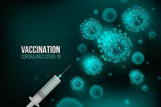 Bactéria azul de fundo de vacinação com coronavírus