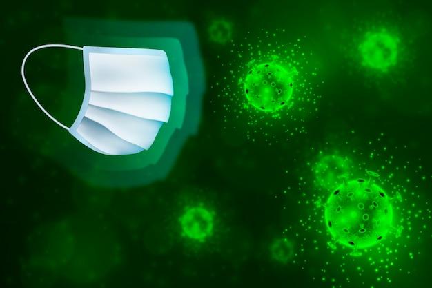 Bactéria verde coronavírus e fundo de máscara facial de proteção