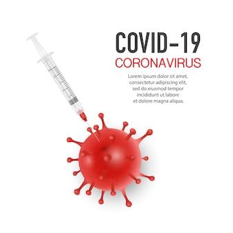 Bactérias, célula e seringa de coronavírus
